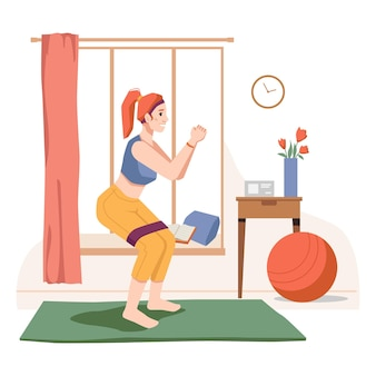 Weibliche person, die übungen und sport während der quarantäne im heimgymnastikraum in der raumdame tut