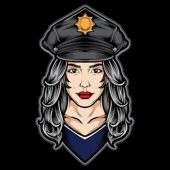 Weibliche polizeilogoillustration
