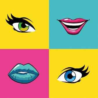 Weibliche pop-art-münder und augen innerhalb des rahmenvektors