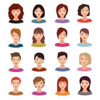Weibliche porträts. junge frau geht mit verschiedener frisurvektoravatarablage voran
