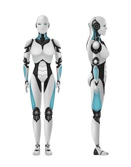 Weibliche realistische zusammensetzung 3d des roboter android des humanoiden roboters mit weiblichem körper auf freiem raum
