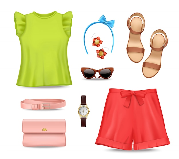 Weibliche romantische bunte sommerkleidung und -zubehör eingestellt
