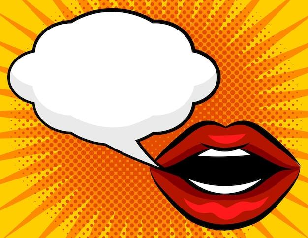 Weibliche rote lippen mit einer weißen sprechblase