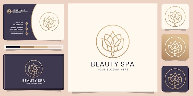 Weibliche schönheit blumenlogo luxus-design-vorlage konzept beauty spa strichzeichnungen kreisrahmen-logo mit minimalistischem abstraktem rosenlogo-symbol und visitenkartenvorlage premium-vektor