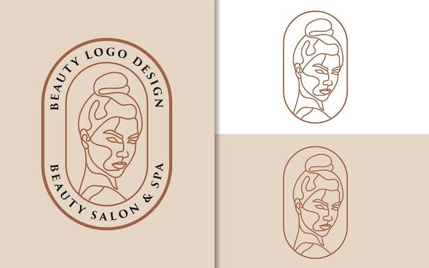 Weibliche schönheit frau gesicht minimalistisches strichzeichnungen handgezeichnetes logo