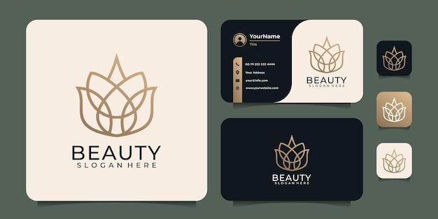 Weibliche schönheit luxus blume logo design vorlage konzept spa strichzeichnungen
