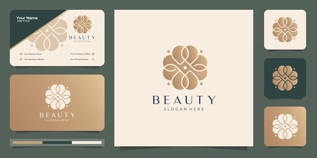 Weibliche schönheitsblume logo.luxury florale goldfarbe, femininer salon, logo und visitenkartendesign.