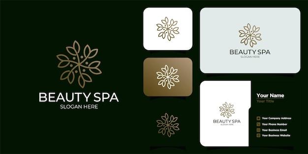 Weibliche schönheitsblume. luxus-design-vorlage und visitenkarte