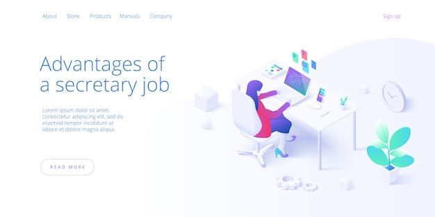 Weibliche sekretärin beschäftigt mit laptopjob im büro in isometrisch. persönlicher assistent workaholic oder überarbeitete frau operator multitasking am schreibtisch. web-banner-layout-vorlage.