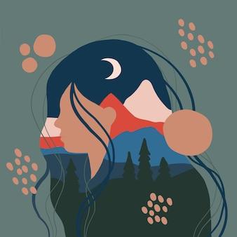 Weibliche silhouette mit berglandschaft als hintergrundreise- und abenteuerkonzept