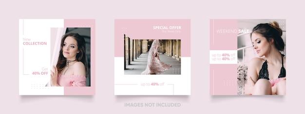 Weibliche social media-beitragsschablone mit rosa farbe für modefahne
