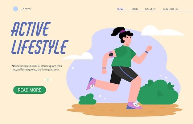 Weibliche sportaktivität und gesunder lebensstil. junge frau, die im park oder in der natur läuft. mädchen geht sport, um gewicht zu verlieren und zu kontrollieren. vektor-illustration. vorlage für die zielseite.