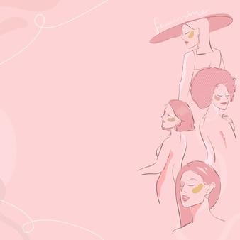 Weibliche strichzeichnungen auf einem rosa hintergrundvektor