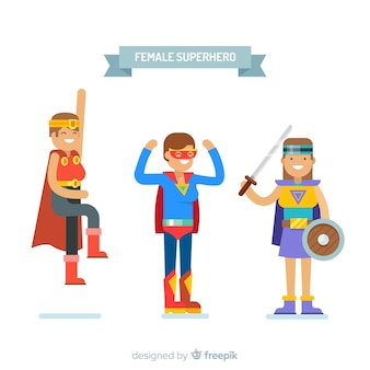 Weibliche superhelden-charaktere