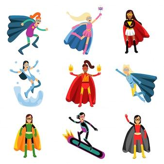 Weibliche superhelden in verschiedenen kostümen bunt eingestellt