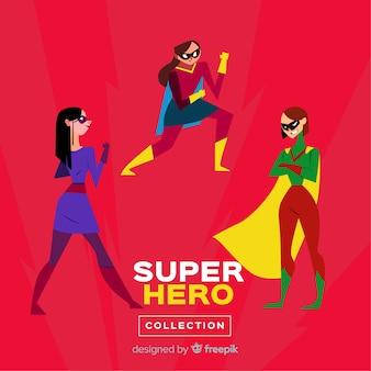 Weibliche superheldencharaktersammlung mit flachem design