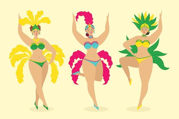 Weibliche tänzer des brasilianischen karnevals des bikinianzugs