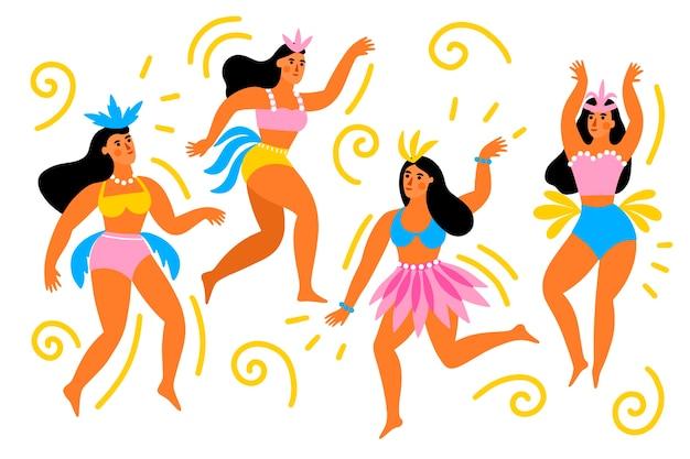 Weibliche tänzer des brasilianischen karnevals in der bunten kleidung