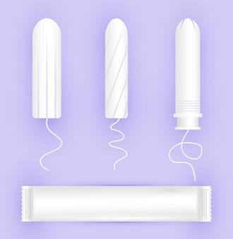 Weibliche tamponsikone. menstruationspflege für frauen. illustration von damenhygieneprodukten in einem flachen stil.