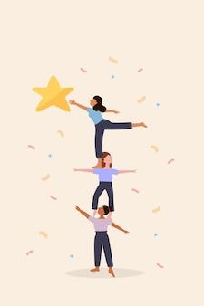 Weibliche teamarbeit, gute zusammenarbeit, starke partnerschaft können dazu beitragen, stärke zu schaffen, um ziel und ziel zu erreichen, kolleginnen machen pyramidenakrobaten, um andere zu unterstützen, sterne zu erreichen, preise zu gewinnen und wettbewerbe zu gewinnen.