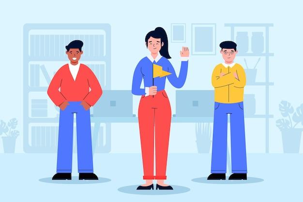 Weibliche teamleiterin illustriert
