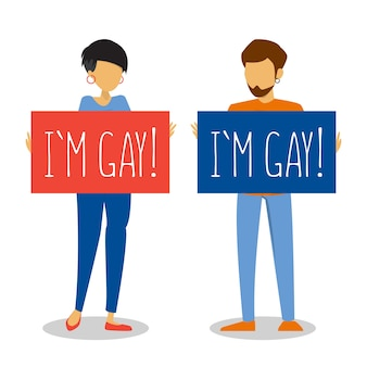 Weibliche und männliche person kommen isoliert heraus. homosexueller erwachsener hält banner ich bin schwul. freiheit der liebe und orientierung. stolzmonat.