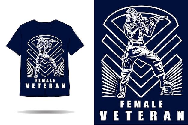 Weibliche veteranen-silhouette-t-shirt-design