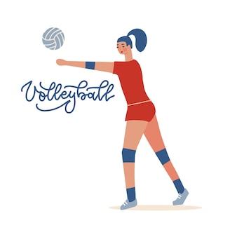 Weibliche volleyballspielerin, die indoor-volleyball-sportmeisterschafts-wettkampfsport...