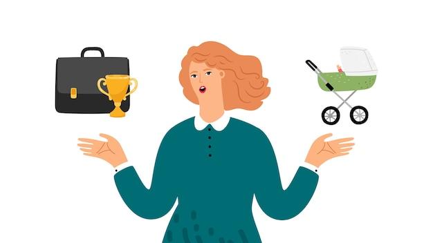 Weibliche wahl. frau, die zwischen familie und beruf wählt. erfolgreiche frau macht verantwortungsbewusst wählen. geschäfts- und elternlebensbilanz, vektorillustration