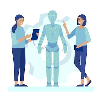 Weibliche wissenschaftler, die roboter-flache karikatur programmieren