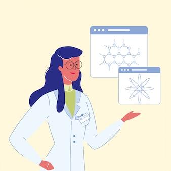 Weibliche wissenschaftler-karikatur-vektor-illustration