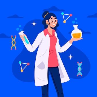 Weibliche wissenschaftlerillustration