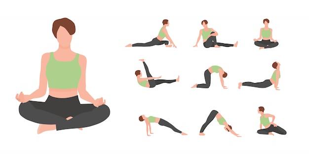 Weibliche yoga-meistercharaktere setzen lokalisiert auf weißem hintergrund