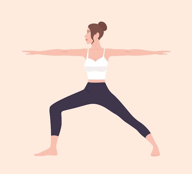 Weibliche zeichentrickfigur, die hatha yoga-haltung demonstriert. mädchen, das gymnastikübung während des fitness-trainings durchführt.