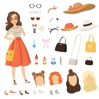 Weibliche zeichentrickfigur mit verschiedenen mode-accessoires und kleidung