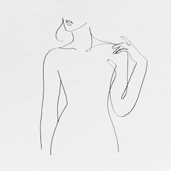Weibliche zeichnung der körperlinie der frau auf grauem hintergrund