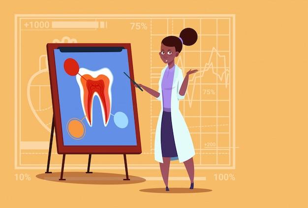 Weiblicher afroamerikaner-doktor dentist, der zahn an bord medizinische arbeitskraft-stomatologie-krankenhaus betrachtet