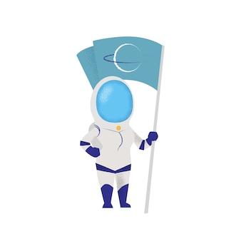 Weiblicher astronaut, der flagge hält. charakter, mission, entdeckung.