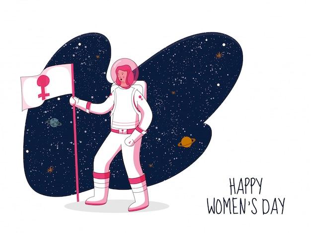 Weiblicher astronaut, der flagge mit venus sign auf abstraktem weltraum-hintergrund für konzept der glücklichen frauen tageshält.