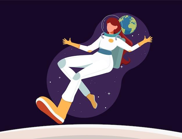 Weiblicher astronout, der im raum fliegt