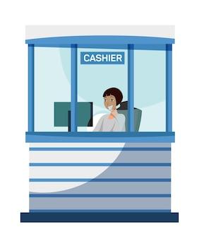 Weiblicher bankkassierercharakter, der am fenster der kassenabteilung sitzt