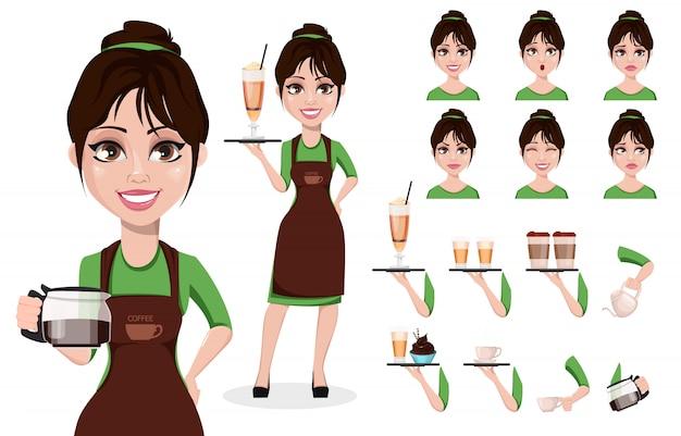Weiblicher barista in berufsuniform