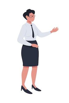 Weiblicher beamter halbflacher farbvektorcharakter, der figur ganzkörperperson auf weiß aufwirft