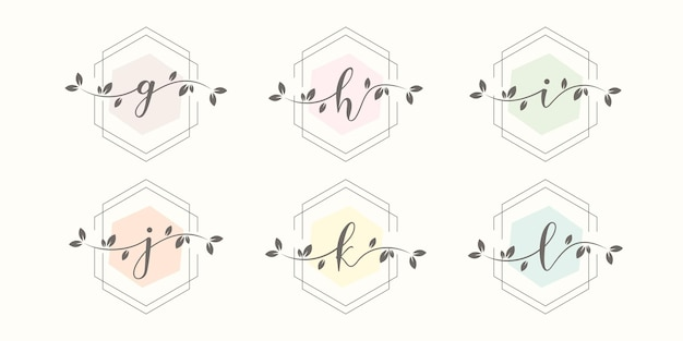 Weiblicher brief mit blumenrahmen-logo-design