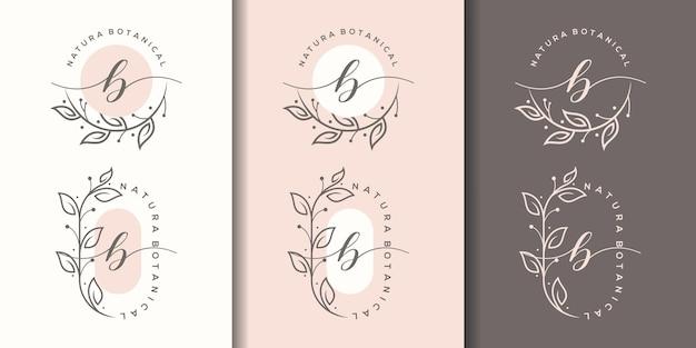 Weiblicher buchstabe b mit floralem rahmenlogo-design
