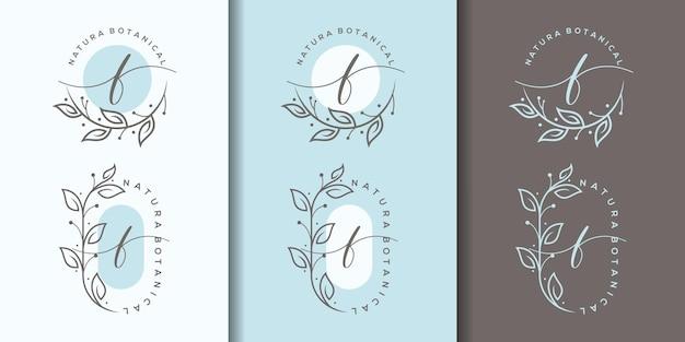 Weiblicher buchstabe f mit floralem rahmenlogo-design