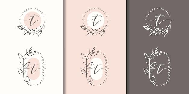 Weiblicher buchstabe t mit floralem rahmenlogo-design