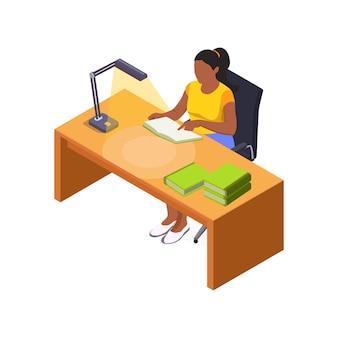 Weiblicher charakter, der bücher am schreibtisch mit isometrischer lampe liest