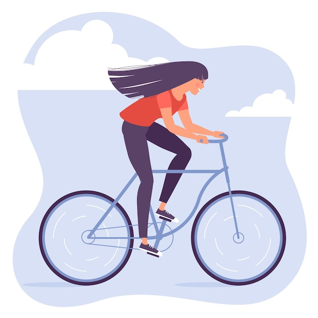 Weiblicher charakter des kühlen vektors des flachen entwurfs des jungen erwachsenen reitenden fahrrads