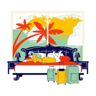 Weiblicher charakter hotel lodger liegend im bett mit exotischem fensterblick